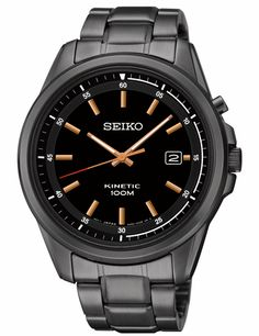 Seiko SKA681 Men's Watch Kinetic Black Dial With Black-ION Stainless Steel Band