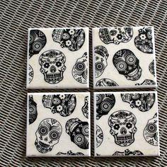 Day of the dead ceramic drinks coasters, Mexican Black Sugar Skulls Home Decor