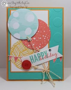 I used the Celebrate Today stamp set and matching Balloon Framelits from Stampin' Up! to create my card to share today. My card design was inspired by Retrosketches #152. The colors for my card wer...