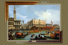 Canvas framed print, Canaletto_Bucentaur's return to the pier by the Palazzo Ducalei, giclee canvas, gold framed, nameplate by GoldFramedCanvas on Etsy