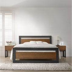 This stylish and contemporary Sinquefield Bed Frame design is something to behold. Perfect for any ages and its borders can tie any room together. Upholstered Bed Frame, Upholstered Ottoman, Bed Frame Design, Bed Design, Wood Beds, Metal Beds, Leather Headboard, Ottoman Bed, Flat Bed