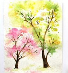 Paint watercolor spring trees easily with crumbled paper