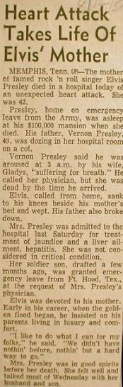 ♡♥Elvis' mom died of a heart attack brought on by acute hepatitis at the young age of only 46. Newspaper clip incorrectly says Gladys died at 42 when she really died at age 46 in 1958♥♡