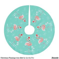 Christmas Flamingo tree skirt