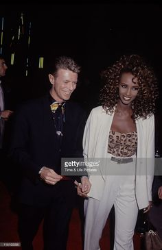 Singer and musician David Bowie with his girlfriend, supermodel Iman, circa 1993.