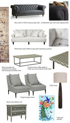 we put together our proposal for the lounge room furniture selection here for client to get an idea of overall look and feel.   #furniture #moodboard #sofa #lounge #floorlamp #rug #boneinlay #zigzag #chesterfield #interior #design #multicolor #linen #grey #navy #kemoodesign #white #soft #highend #luxury #styling #clasic #peacock #artwork #watercolor #painting #drawer #console #buffet #chest #unit #light #dark #blackandwhite #texture #mood #melbourne #australia #室內設計 #客廳 #家具 #家飾 #裝飾 #孔雀 #咖啡桌…