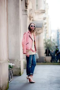 why not try a bold pink leather jacket