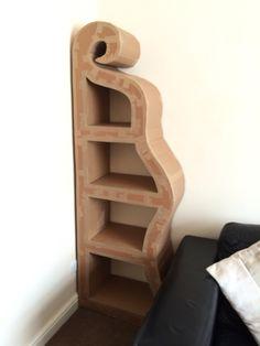 Cardboard bookshelf ready for covering