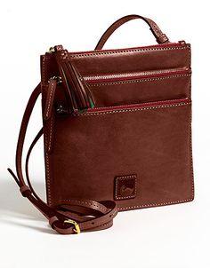 North South Triple Zip Leather Shoulder Bag