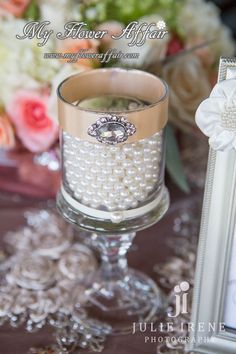 wedding candle holder with pearls.  Flowers by www.myfloweraffair.com . Photography by Julie Irene. Location: Mission Viejo Country Club