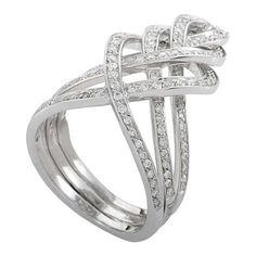 Damiani Woven Diamond Gold Band Ring 1