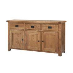 Rustic Solid Oak SRDS45 Large Sideboard  www.easyfurn.co.uk Painted Sideboard, Large Sideboard, Oak Sideboard, Vintage Sideboard, Light Oak Furniture, Rustic Furniture, Home Furniture, Side Board, Homestead Living