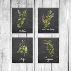 Watercolor Italian Herb Chalkboard Kitchen Decor Wall Art Print Set of 6 Digital Art Prints This is a set of 4 Prints You will receive one each of the