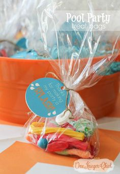 Simple treat bags- perfect for a Pool Party! free printable tag- OneKriegerChick