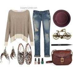 Ripped Jeans and Leopard Printed Oxford Shoes-Love those shoes!!