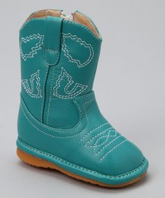 Look what I found on #zulily! Laniecakes Teal Squeaker Cowboy Boot by Laniecakes #zulilyfinds