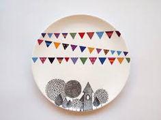 forny tallerken med porcelænstusch