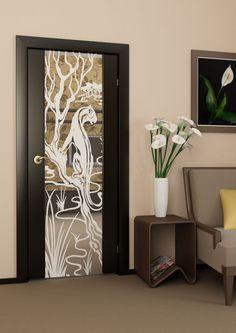 porte design en bois avec miroir intégré au motif paysage de la jungle