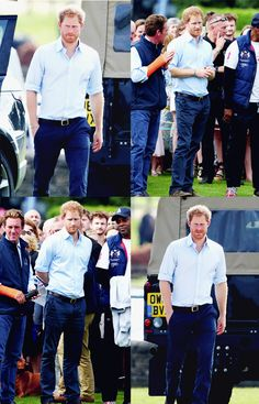 Prince Harry watches Prince William, Duke of Cambridge play in the Maserati Royal Charity Polo Trophy Match on June 18, 2016 in Tetbury, England.