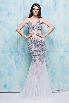 2016 Summer New Nightclub Sexy Dress Long Slim Halter Fishtail Diamond  Party… Evening Dresses d2c55e47e819