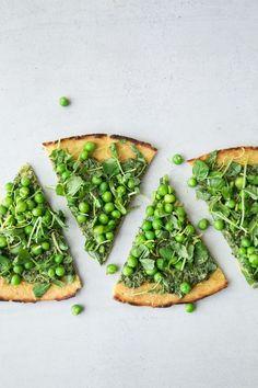 pea socca + mustard greens pesto (v/gf)