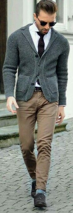 sand trousers, white shirt, grey cardigan, burgundy tie, dark brown belt and shoes. men style outfit