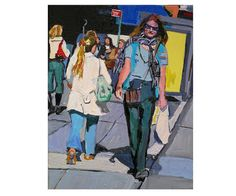 """Fine Art Print 8x10, """"Lunchtime on Seventh Avenue"""" yellow blue lavender New York Painting by Gwen Meyerson on Etsy, $20.00"""