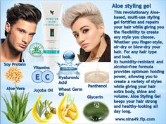 Style your hair with Aloe Styling gel.Alcohol-free, effective on wet or dry hair, adds body without stickbess,Aloe-based for extra protection! Order at www.nina49.flp.com
