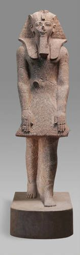 Hatshepsut in a Devotional Attitude  Early 18th Dynasty, joint reign of Hatshepsut  and Thutmose III (1479-1458 B.C.)  Western Thebes, Deir el-Bahri  Granite