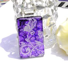 Butterfly Fused Dichroic Glass Pendant Fused Glass by IntoTheLight, $25.00
