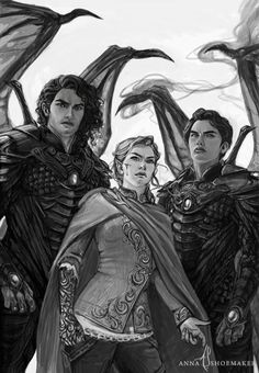 """""""I am High Lady of the Night Court"""" Cassian, Feyre, and Azriel A Court Of Wings And Ruin, A Court Of Mist And Fury, Fan Art, Character Inspiration, Character Art, Feyre And Rhysand, Empire Of Storms, Sarah J Maas Books, Throne Of Glass Series"""