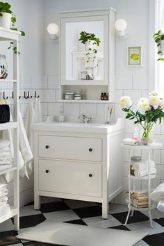 Give your bathroom a traditional look and space for all you need to store with the IKEA HEMNES bathroom series. Mirror cabinets, shelf units, and sink cabinets help you organize your bathroom, no matter what size it is.