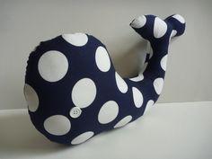 cute blue nautical pillow, plush whale, nautical decor for home, nautical nursery. $18.00, via Etsy.