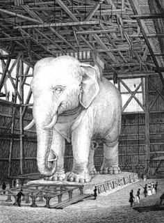 "Elephant drawings | The ""Elephant of the Bastille"" – in the Les Misserables novel, this is where Gavroche lived"