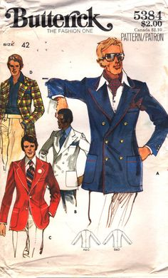 Butterick 5384 1970s  Mens  Single or Double Breasted Jacket with Inside Pockets, Shaped Hemlline, Wide Lapels adult vintage sewing pattern by mbchills