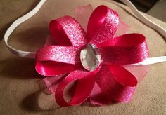 Large pink flower headband by CandysHairbows on Etsy, $4.00