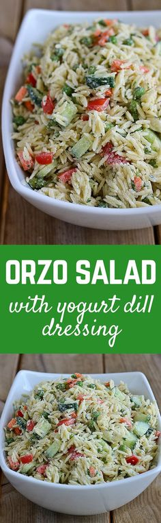 Orzo Salad Recipe with Yogurt Dill Dressing on RachelCooks Salad Recipes Yogurt, Orzo Recipes, Salad Recipes For Dinner, Side Dish Recipes, Side Dishes, Vegetarian Recipes, Cooking Recipes, Healthy Recipes, Coctails Recipes