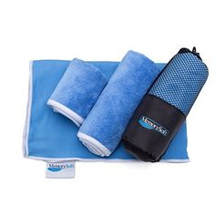 Relefree Premium Microfiber Towel for Travel, Sports & Outdoors FREE Hand/Face Towel & Mesh BAG, Antibacterial Quick-dry (Blue)