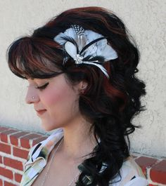 Black and White Feather Boutique Hair Clip Fascinator Photp Prop. $22.99, via Etsy.