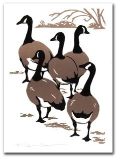 Canada Geese Block Print Note Card by kgcrafts on Etsy