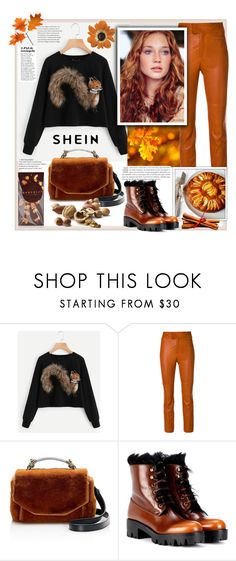 """Shein.Faux Fur Fox Patch Sweatshirt"" by natalyapril1976 ❤ liked on Polyvore featuring Isabel Marant, Maje, Prada and Chocolat Moderne"