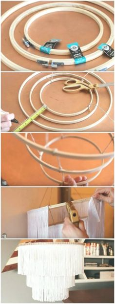 DIY boho fringe chandelier - I& been seeing DIY chandelier and light fixtu. - DIY Wohnen - DIY boho fringe chandelier – I& been seeing DIY chandelier and light fixtures all over Pin - Decoration Ikea, Diy Room Decor, Diy Home Crafts, Diy Crafts To Sell, Diy Chandelier, Chandelier Bedroom, Homemade Chandelier, Diy Home Decor On A Budget, Boho Diy