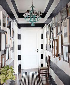 Good decorate narrow entryway hallway entrance decorate narrow entryway hallway entrance simple hallway decorate narrow with smal hall inspiration Black And White Hallway, Striped Hallway, Striped Walls, Black White, Striped Rug, White Walls, Striped Ceiling, Black Walls, White Ceiling