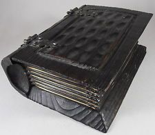 Vtg Hand Carved Wood Wooden Book Trinket Jewelry Box Chest Made in Spain Pirate