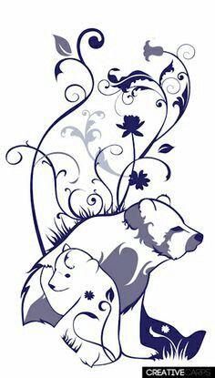 momma bear and cubs tattoo Baby Bear Tattoo, Cubs Tattoo, Bear Tattoos, Mom Tattoos, Tatoos, Tribal Bear Tattoo, Ship Tattoos, Mom Daughter Tattoos, Mother Son Tattoos