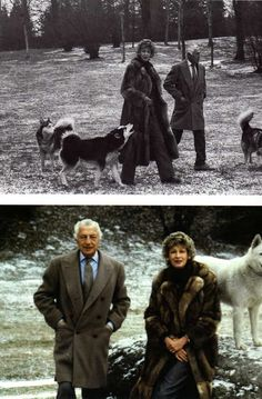 Gianni Agnelli and Marella Agnelli with their huskies at Turin. Photo by Enrica Scalfari.
