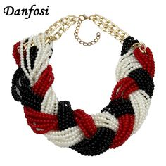 Danfosi Fashion Accessories Hand Made Bib Collar Jewelry Weave Imitation Pearl Beads Chains Women Statement Choker Necklace