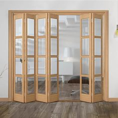 Internal Slimline Folding Doors – Page 2 Sliding Garage Doors, Wooden Sliding Doors, Sliding Door Design, Room Partition Designs, Living Room Partition Design, Bifold Doors Extension, Home Office Shelves, Stacking Doors, Internal Folding Doors