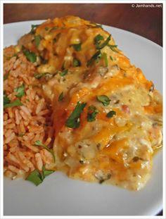Creamy Cheesy Chicken Enchiladas at www.JamHands.net  (P)