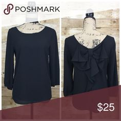 The Limited Bow Back Blouse -  NWOT Bow Back Blouse by The Limited 3/4 length sleeves, flowy blouse made of 100% Polyester ***Please note there is a little tiny pull in the fabric thread on the top of the neckline which can be cut off. Please see picture The Limited Tops